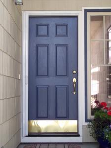 blue single entry door with white retractable screen installed