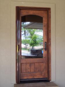 wood single entry door with mirage retractable scren