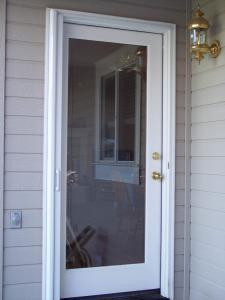 single glass door with white mirage retractable screen