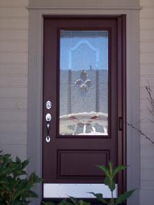 brown single entry door with brown mirage retractable screen installed