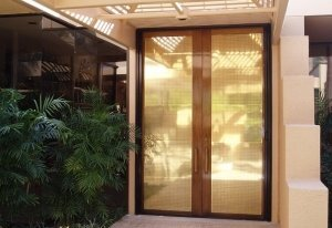 Mirage double entry retractable screen door