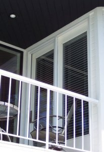 double entry door on patio with mirage retractable screens installed