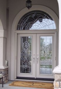 glass double entry door with mirage retractable screens installed