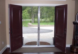 double entry doors opened to allow fresh air inside