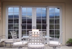 double entry patio doors with retractable screens installed