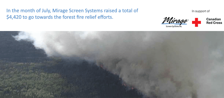 Mirage Screen Systems makes donation to Canadian Red Cross