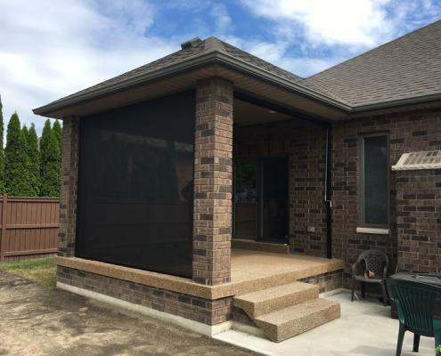 Motorized Retractable Screen Application on covered back porch